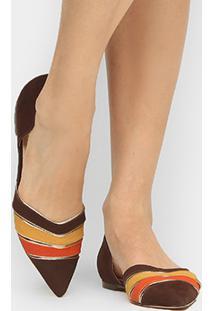 Sapatilha Couro Shoestock Bico Fino Multicor Feminina - Feminino-Marrom