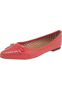 Sapatilha Dafiti Shoes Vazada Verniz Coral