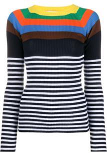 Brag-Wette Suéter De Tricô Com Estampa De Listras - Azul
