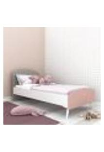 Cama Solteiro Para Colchão 78 X 188 Cm 100% Mdf Doçura Multimóveis Branco/Cinza/Rosa