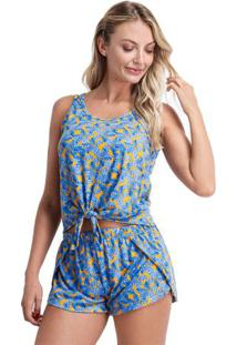 Pijama Short Doll Regata Com Detalhe Em Nó Feminino Adulto