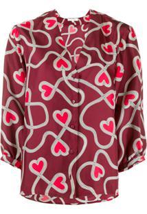 Chinti And Parker Blusa Com Estampa De Coração - Vermelho