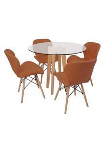 Conjunto Mesa De Jantar Em Vidro 90Cm Com Base Vértice + 4 Cadeiras Slim - Marrom