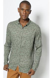 Camisa Floral - Verde Militar & Vermelhareserva