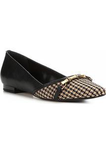 Sapatilha Couro Shoestock Ráfia Feminina - Feminino-Preto