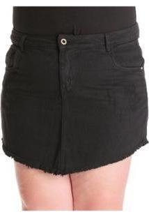 Saia Confidencial Extra Jeans Barra Desfiada Plus Size - Feminino-Preto