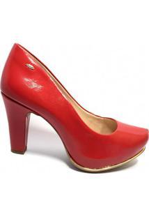 Scarpin Dakota Verniz Salto Alto Feminino - Feminino-Vermelho