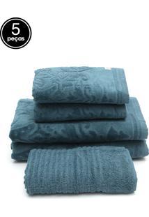 Jogo De Banho Buddemeyer 5 Pçs Pamplona Azul 70X135