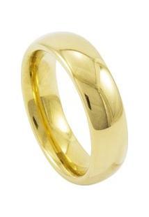 Aliança De Tungstênio New Tungsten 6Mm Tradicional Gold - Unissex-Dourado