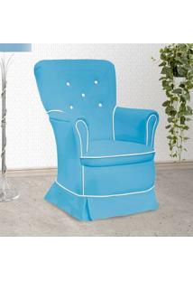 Poltrona Amamentação Sofia Com Balanço Azul E Branca - Confortável