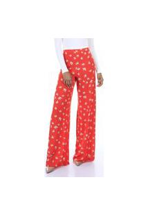 Calça Pantalona Estampada De Cintura Alta Aha