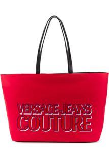 Versace Jeans Couture Bolsa Tote Com Logo Gravado - Vermelho