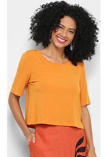 Blusa Cantão Cropped Conforto Feminina - Feminino-Amarelo