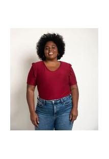 Blusa Malha Texturizada Com Babados Nos Ombros Curve E Plus Size Vermelho