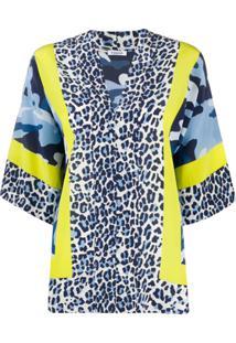 P.A.R.O.S.H. Blusa Oversized Com Estampa De Leopardo - Azul