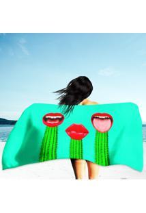 Toalha De Praia / Banho Cactus And Red Lips