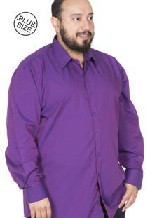 Camisa Plus Size Bigshirts Manga Longa Maquinetada Roxa