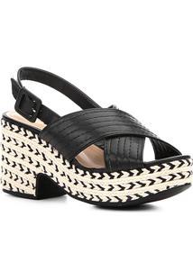 Sandália Shoestock Meia Pata Corda Pesponto Feminina - Feminino-Preto