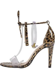 Sandália Minimalista Vinil Week Shoes 3 Tiras Animal Print Onça