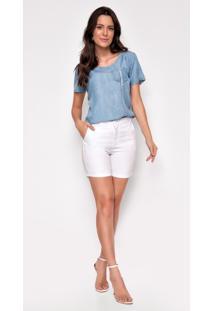 Bermuda Jeans Zait Meia Coxa Color Lisa Branco