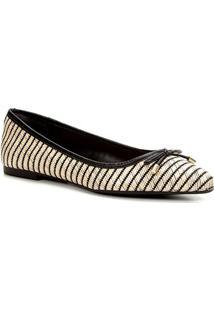 Sapatilha Shoestock Listrada Palha Bico Fino Feminina - Feminino-Bege+Preto