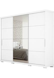Guarda-Roupa Barcelona Robel Branco Madeirado 3 Portas De Correr Com Espelhos