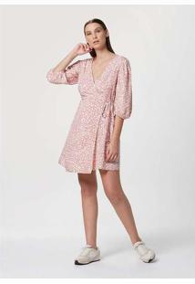 Vestido Curto Estampado Rosa