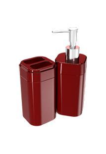 Kit Banho Splash 2 Peças 6,5 X 6,5 X 19,2 Cm / 6,5 X 6,5 X 12,7 Cm Vermelho Bold Coza Vermelho Bold