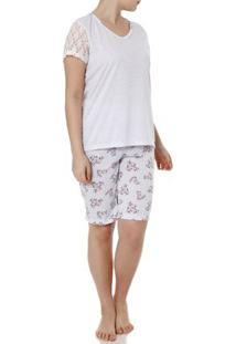 Pijama Curto Feminino Cinza