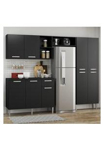 Cozinha Completa Compacta Pequim Up Multimóveis Com Balcáo - Preto