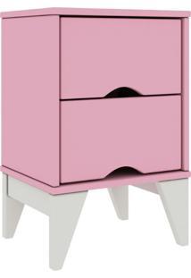 Mesa De Cabeceira 02 Gavetas Twister Tililin Móveis -Quartzo Rosa / Branco