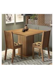 Conjunto Sala De Jantar Madesa Isa Mesa Tampo De Madeira Com 2 Cadeiras - Rustic/Bege Marrom Marrom