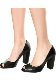 Peep Toe Dafiti Shoes Salto Grosso Preto
