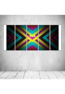 Quadro Decorativo - X Marks The Spot Abstract S - Composto De 5 Quadros - Multicolorido - Dafiti