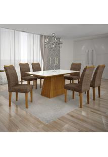 Conjunto Mesa Pampulha 1,80X0,90M 6 Cadeiras Vidro Branco Linho Marrom - 7340.37.39.24 Leifer