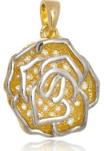 Pingente Boca Santa Semijoias Rosa Iluminada - Ouro Amarelo