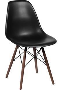 Cadeira Eames Dkr- Preta & Marrom- 80,5X46,5X42Cm