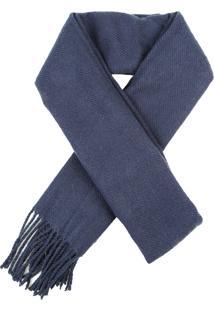Cachecol Masculino Básico Com Franjas Azul Marinho - Único