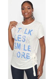 Blusa Com Termocolantes & Amarraã§Ã£O- Off White & Azul
