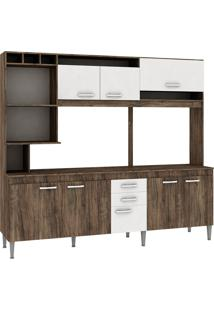Cozinha Compacta Helen 8 Portas Com Tampo Naturalle/Branco - Fellicci