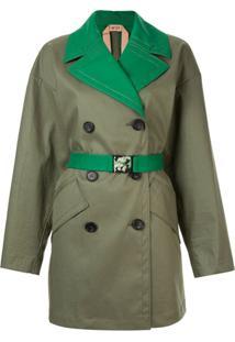 Nº21 Trench Coat Com Recortes Contrastantes - Verde