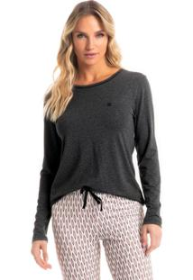Pijama Longo Legging Estampado Bruna - Rosa Medio/Gg