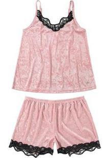 Pijama Curto Em Veludo Molhado Malwee Liberta Feminino - Feminino-Rosa