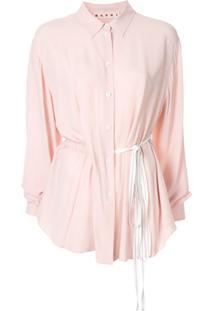 Marni Camisa Com Cordão De Ajuste - Rosa