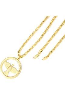 Pingente Tudo Joias Espirito Santo Com Corrente Cartier Folheada A Ouro 18K - Unissex-Dourado