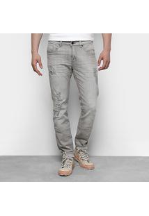 Calça Jeans Skinny Calvin Klein Super Stone Rasgada Masculina - Masculino