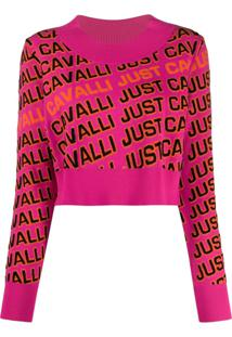 Just Cavalli Suéter Cropped De Tricô Com Logo - Rosa