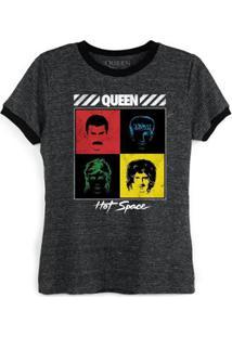 Camiseta Ringer Feminina Queen Hot Space Oficial - Feminino-Preto