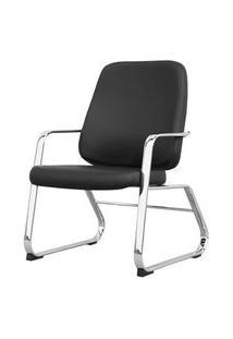Cadeira Maxxer Diretor Assento Courino Preto Base Fixa Cromada - 54855 Preto