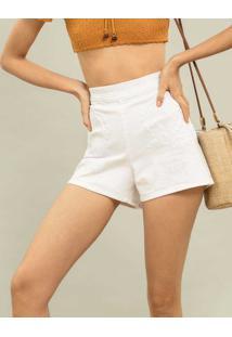 Shorts Cintura Alta Bordado Branco - Lez A Lez